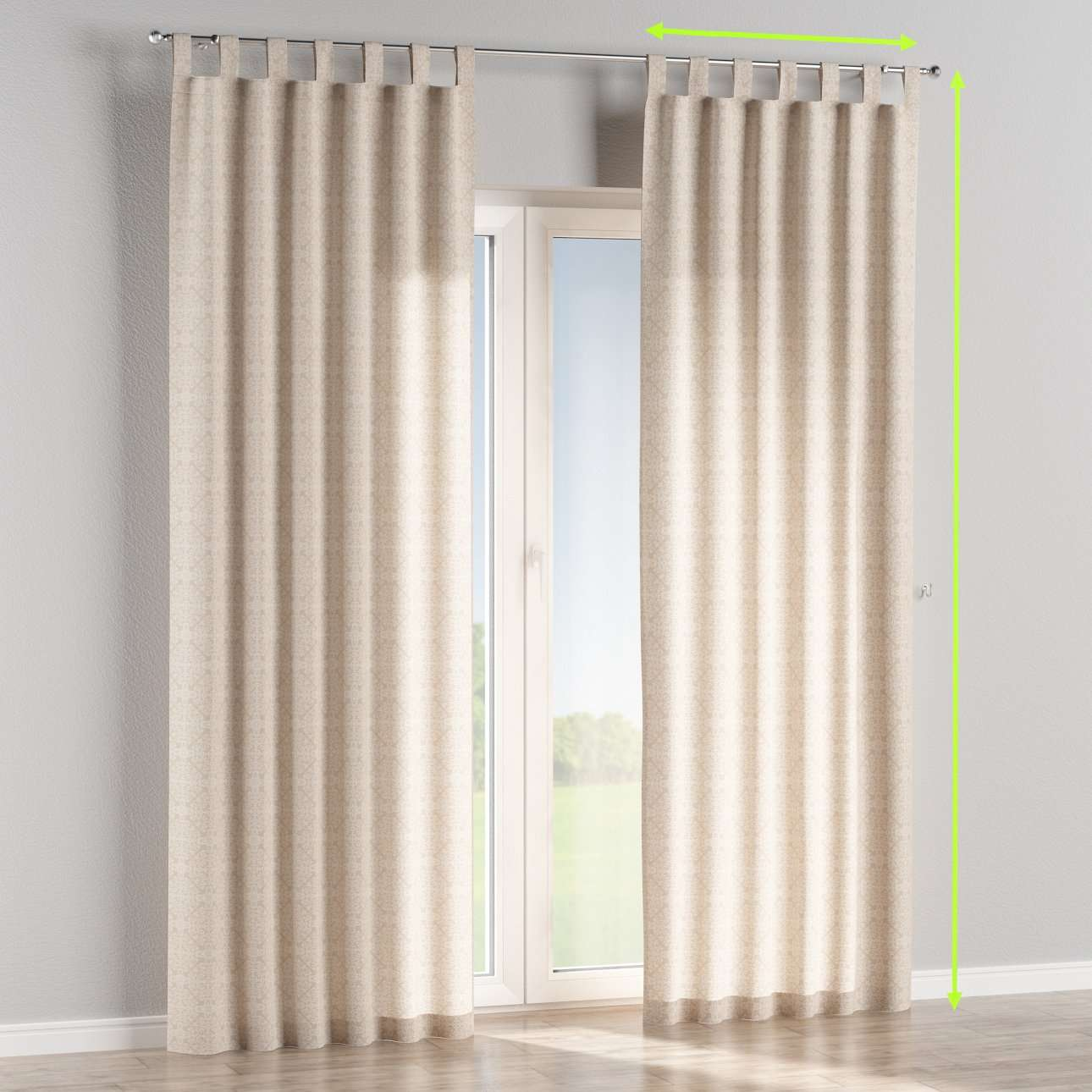Tab top lined curtains in collection Flowers, fabric: 140-39