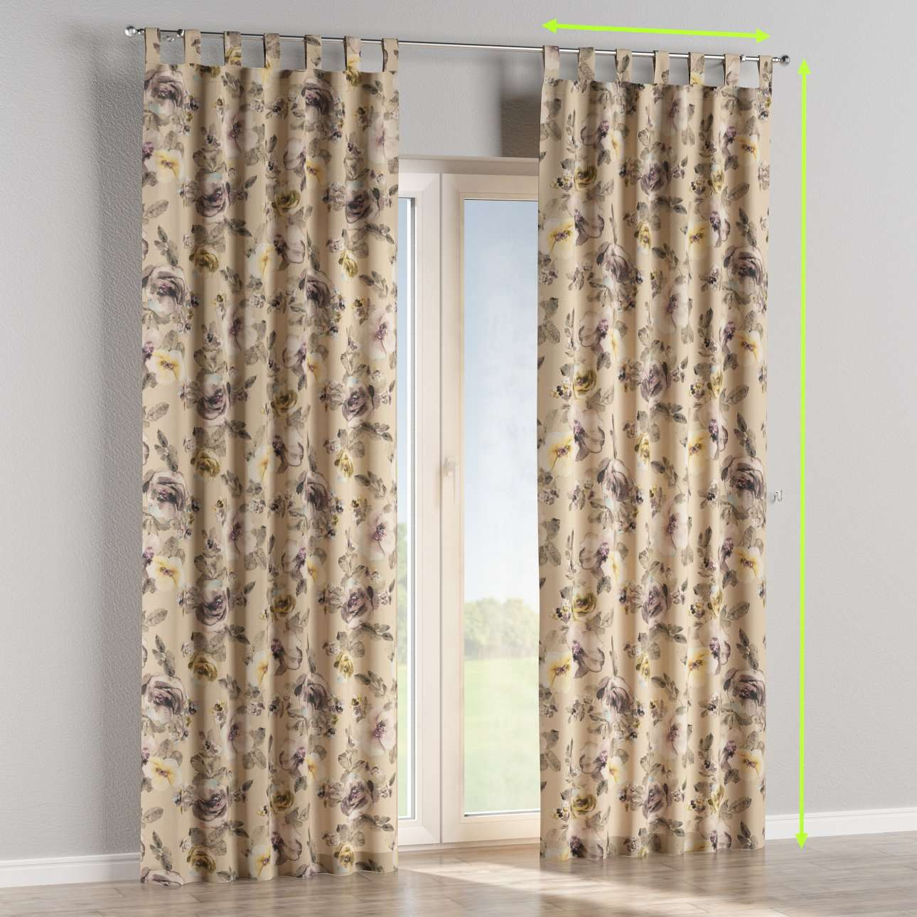 Tab top lined curtains in collection Londres, fabric: 140-44