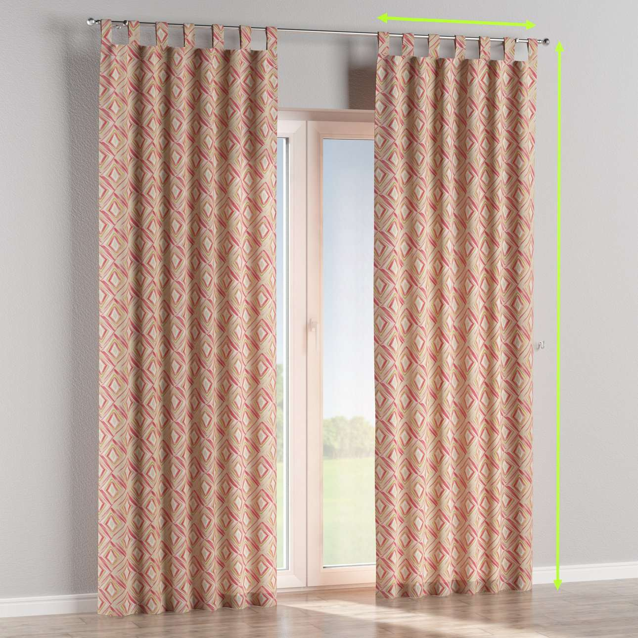 Tab top lined curtains in collection Londres, fabric: 140-45