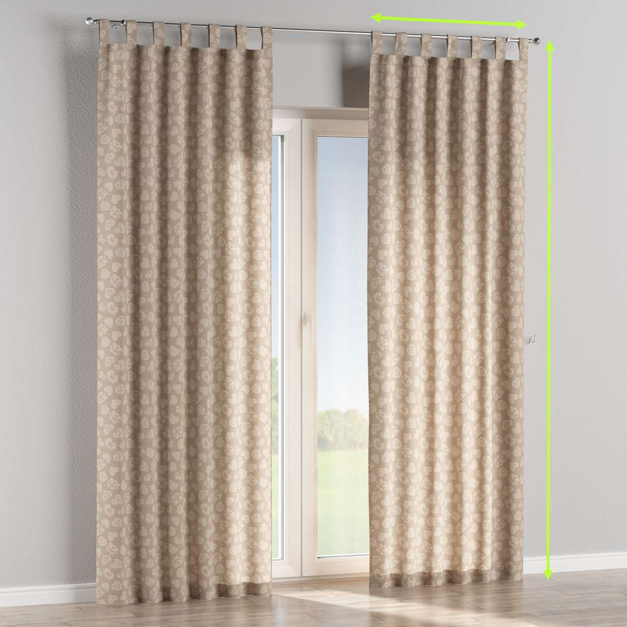 Tab top lined curtains in collection Flowers, fabric: 140-56