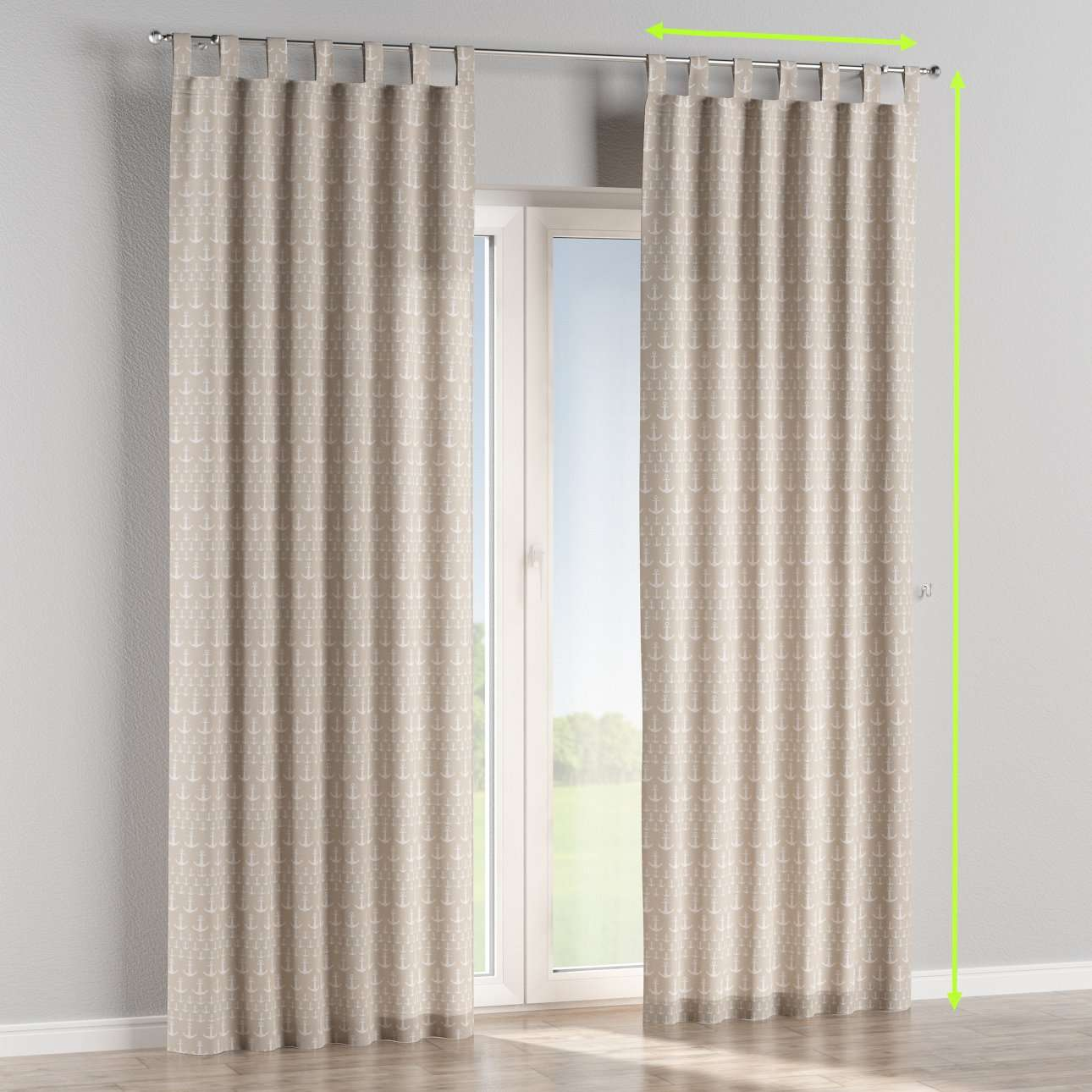 Tab top lined curtains in collection Marina, fabric: 140-63