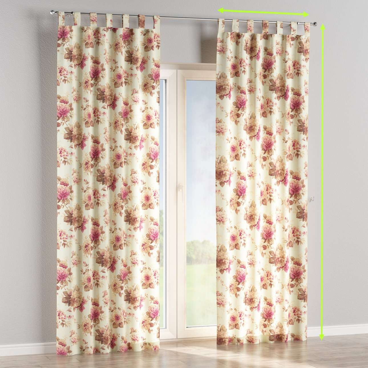 Tab top lined curtains in collection Mirella, fabric: 141-06