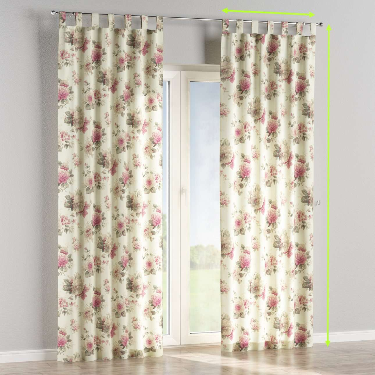 Tab top lined curtains in collection Mirella, fabric: 141-07