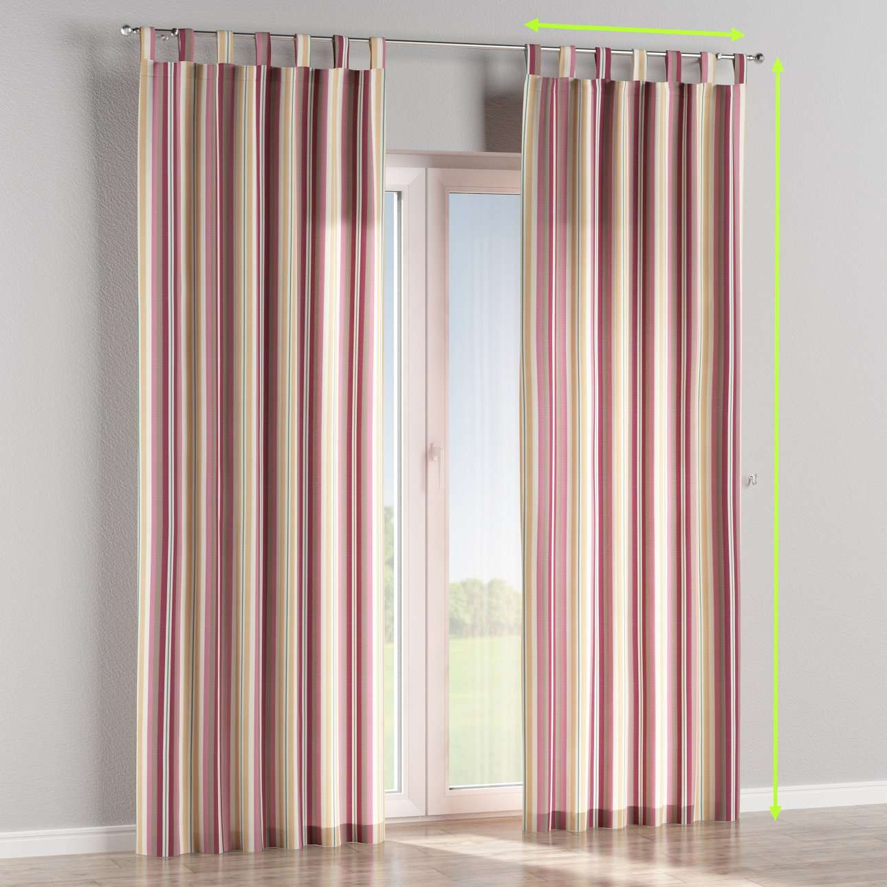Tab top lined curtains in collection Mirella, fabric: 141-14