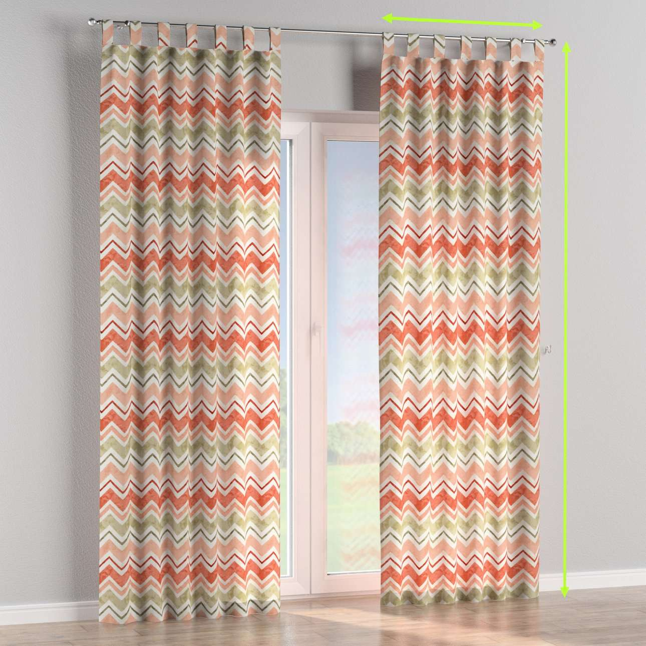 Tab top lined curtains in collection Acapulco, fabric: 141-40