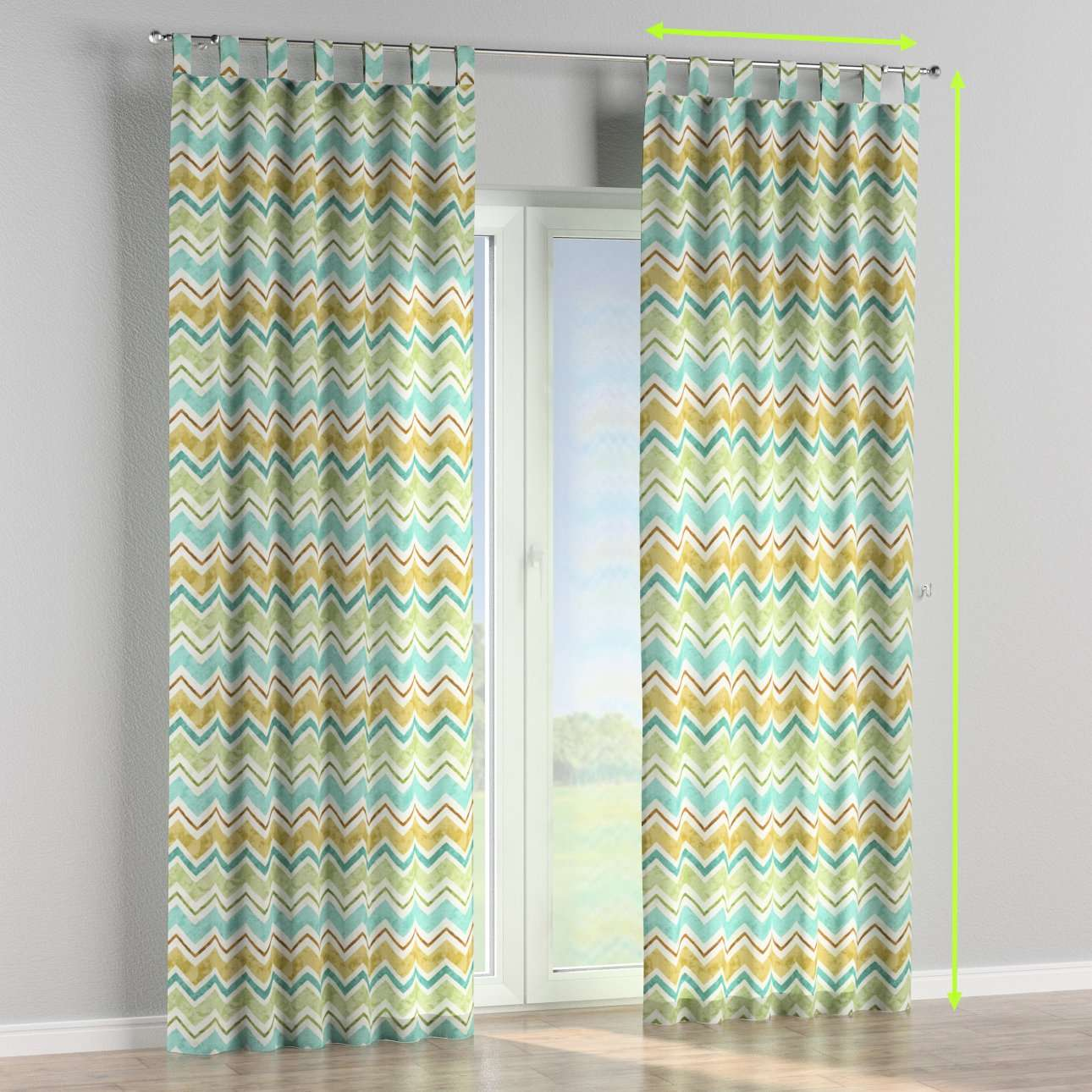 Tab top lined curtains in collection Acapulco, fabric: 141-41