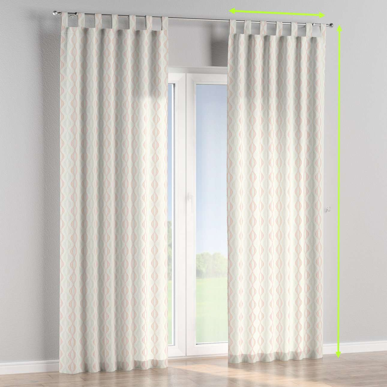 Tab top lined curtains in collection Geometric, fabric: 141-49