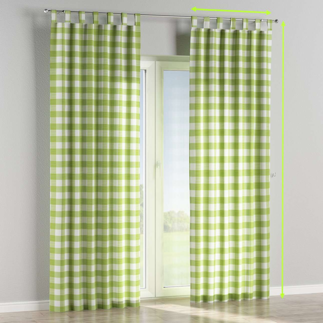 Tab top lined curtains in collection Quadro, fabric: 136-36