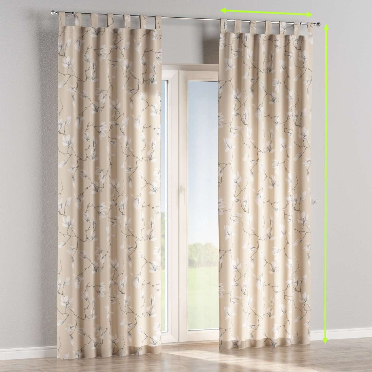 Tab top lined curtains in collection Flowers, fabric: 311-12