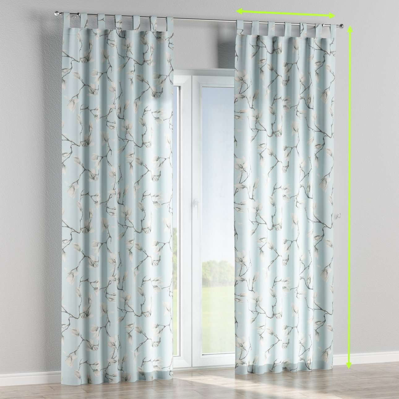 Tab top lined curtains in collection Flowers, fabric: 311-14
