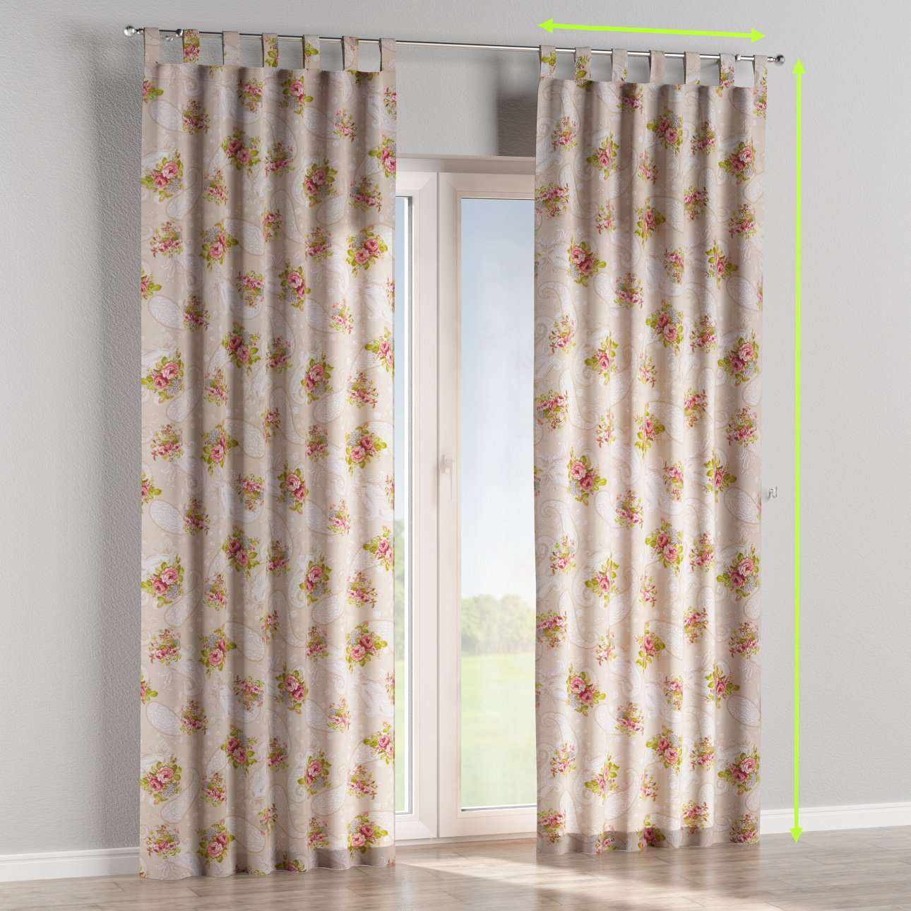 Tab top lined curtains in collection Flowers, fabric: 311-15