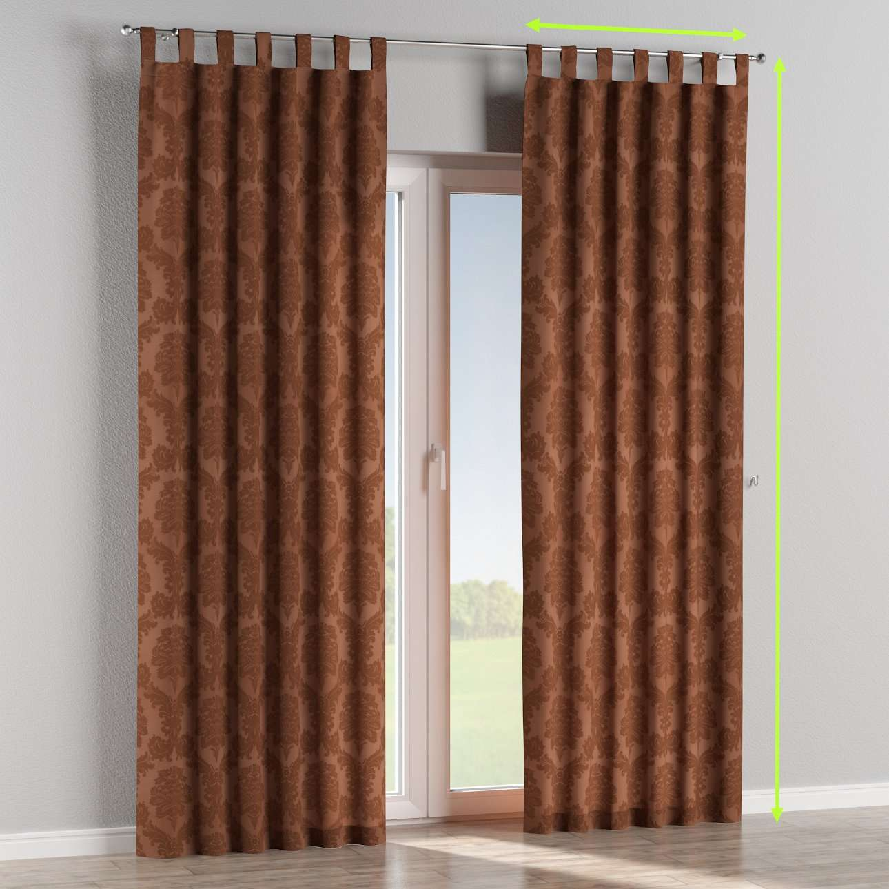 Tab top lined curtains in collection Damasco, fabric: 613-88