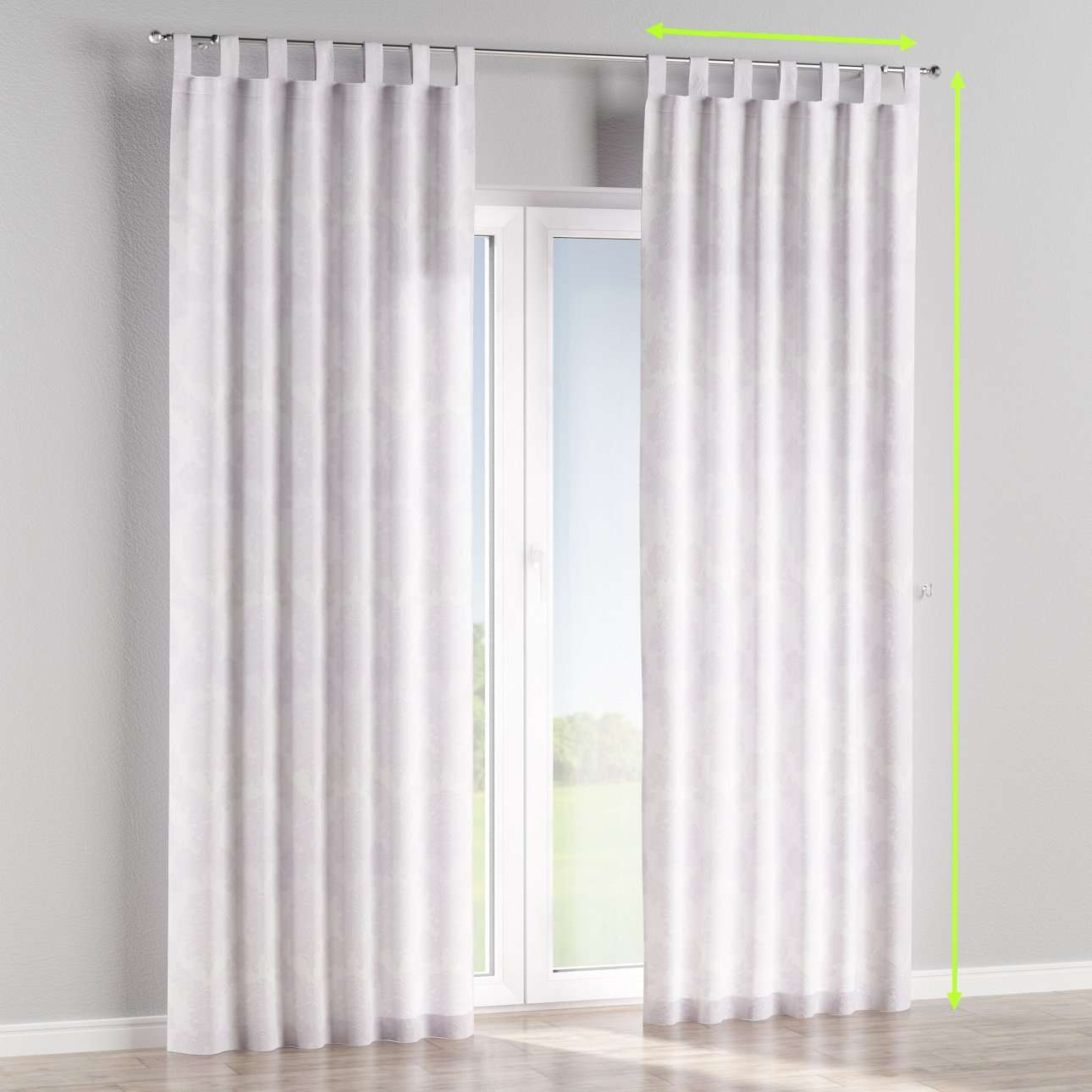 Tab top lined curtains in collection Damasco, fabric: 613-00