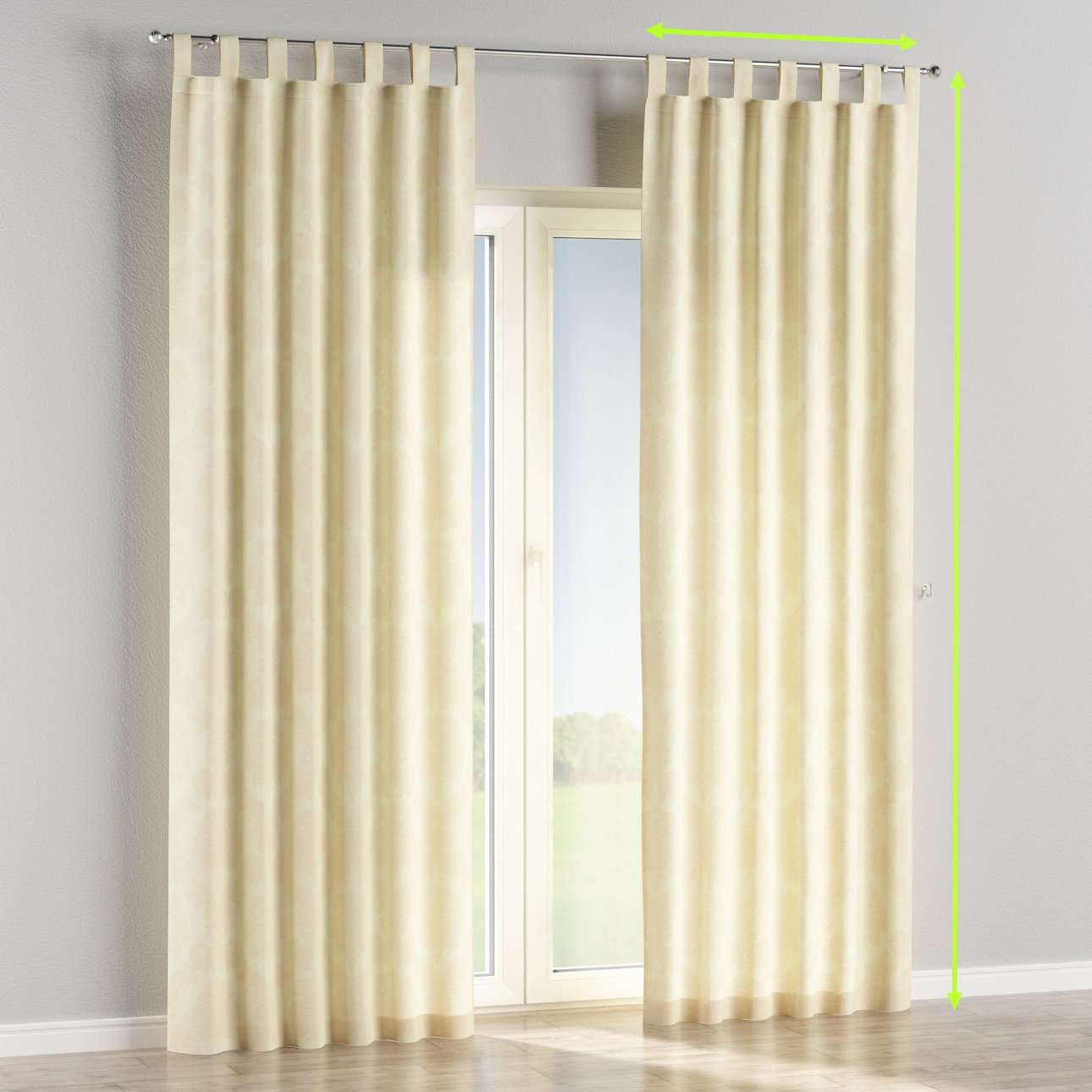 Tab top lined curtains in collection Damasco, fabric: 613-01