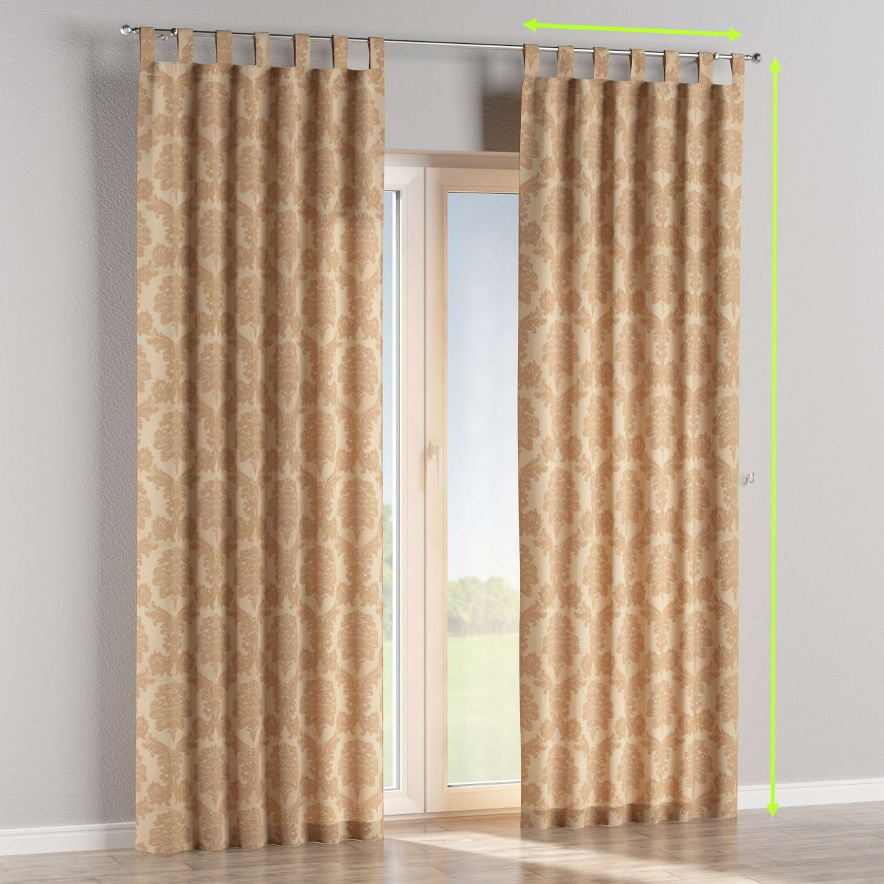 Tab top lined curtains in collection Damasco, fabric: 613-04