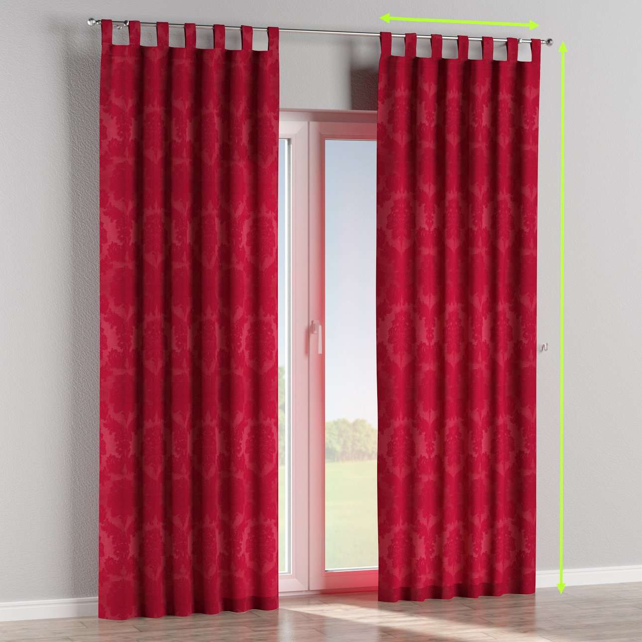 Tab top lined curtains in collection Damasco, fabric: 613-13