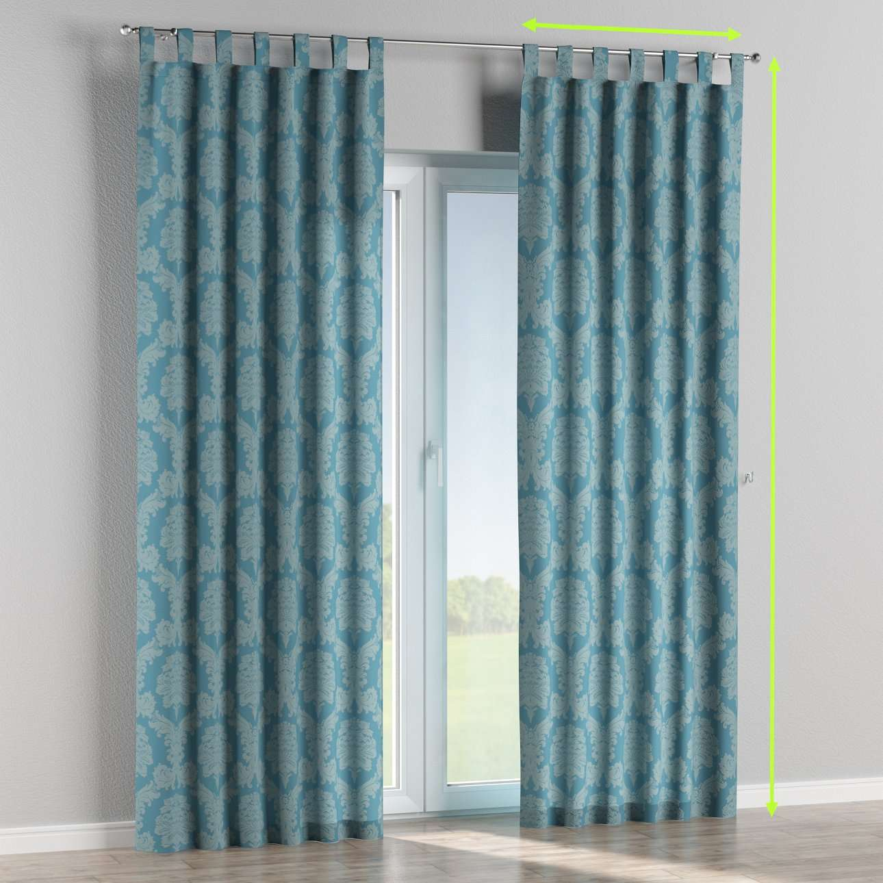 Tab top lined curtains in collection Damasco, fabric: 613-67