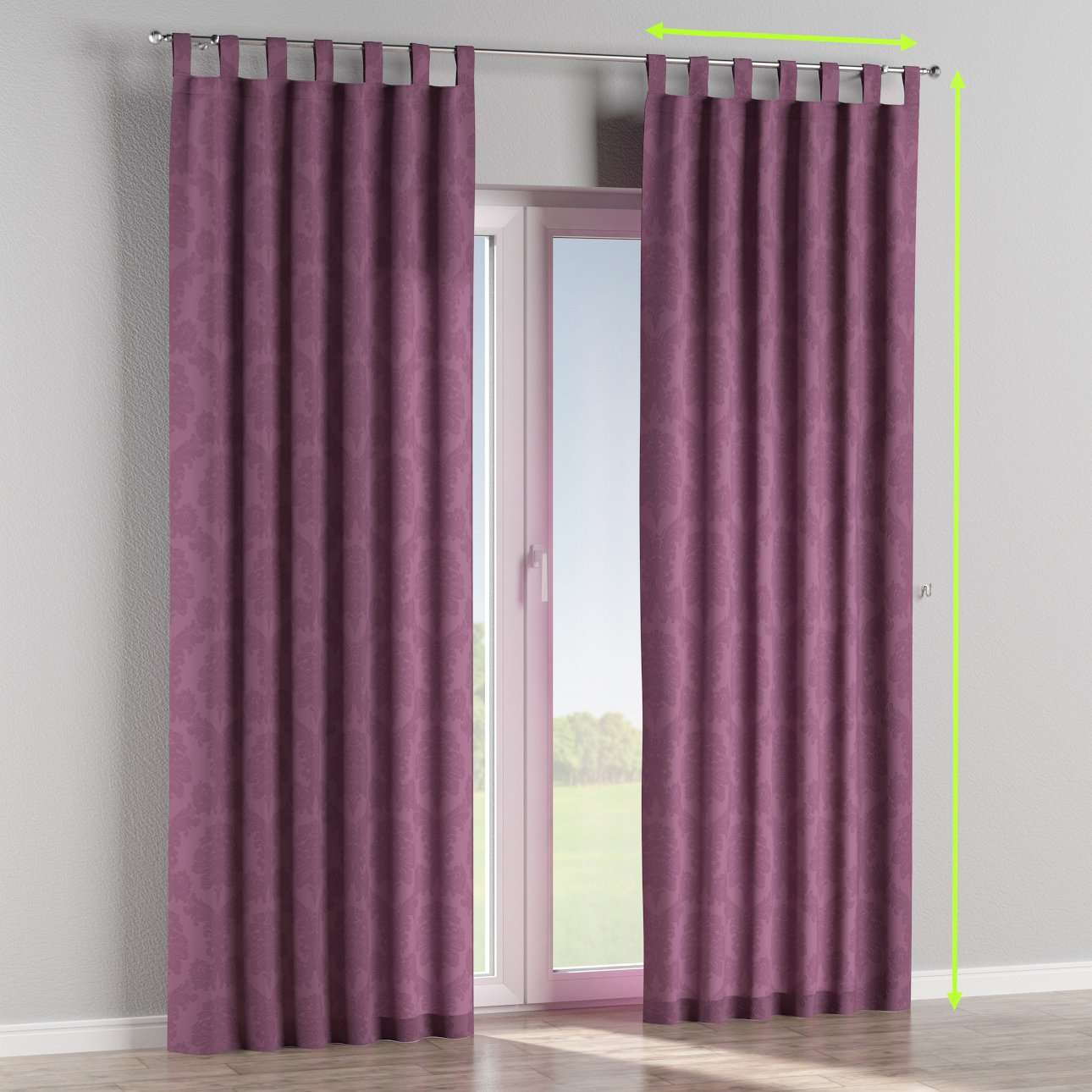 Tab top lined curtains in collection Damasco, fabric: 613-75