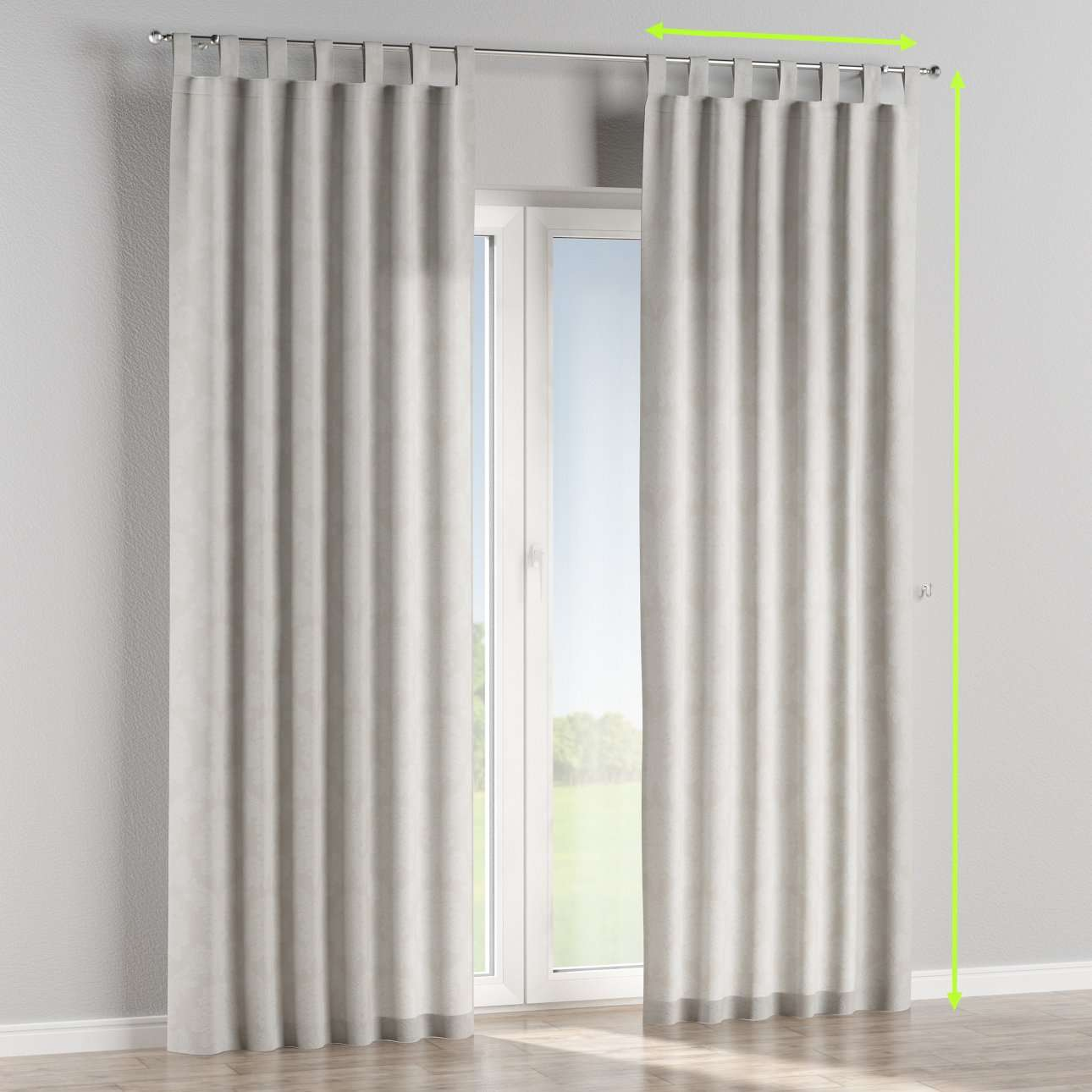 Tab top lined curtains in collection Damasco, fabric: 613-81