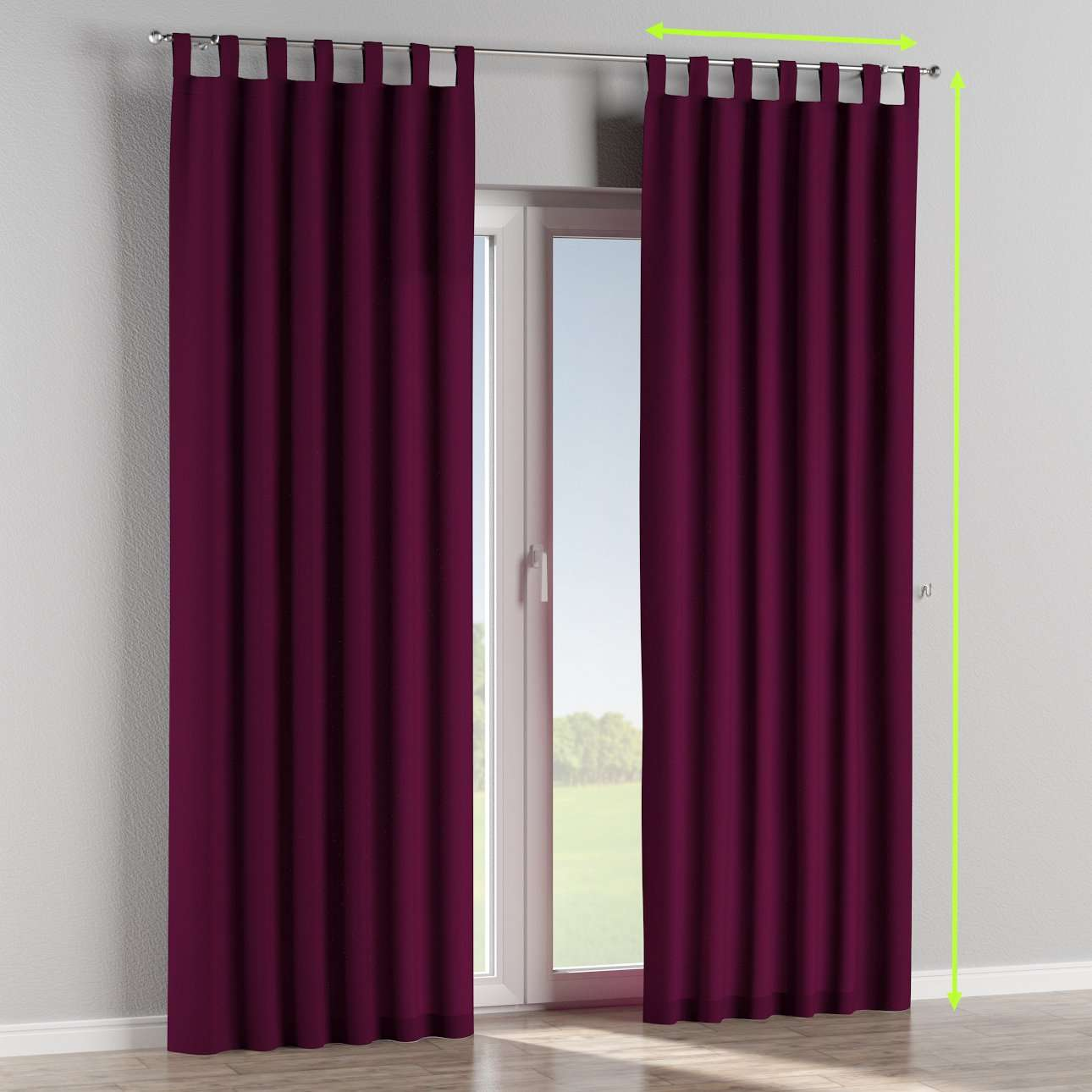 Tab top lined curtains in collection Chenille, fabric: 702-12