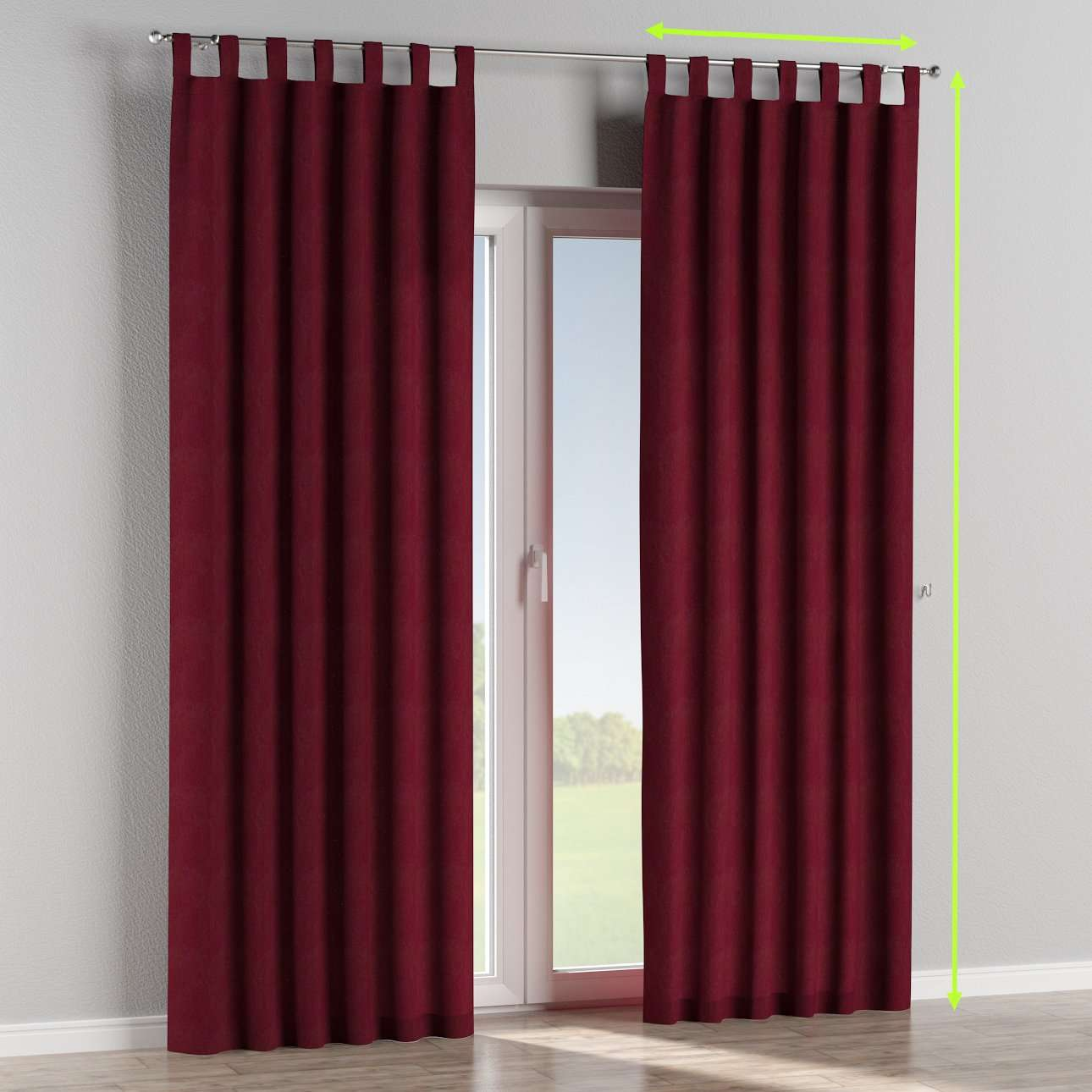 Tab top lined curtains in collection Chenille, fabric: 702-19
