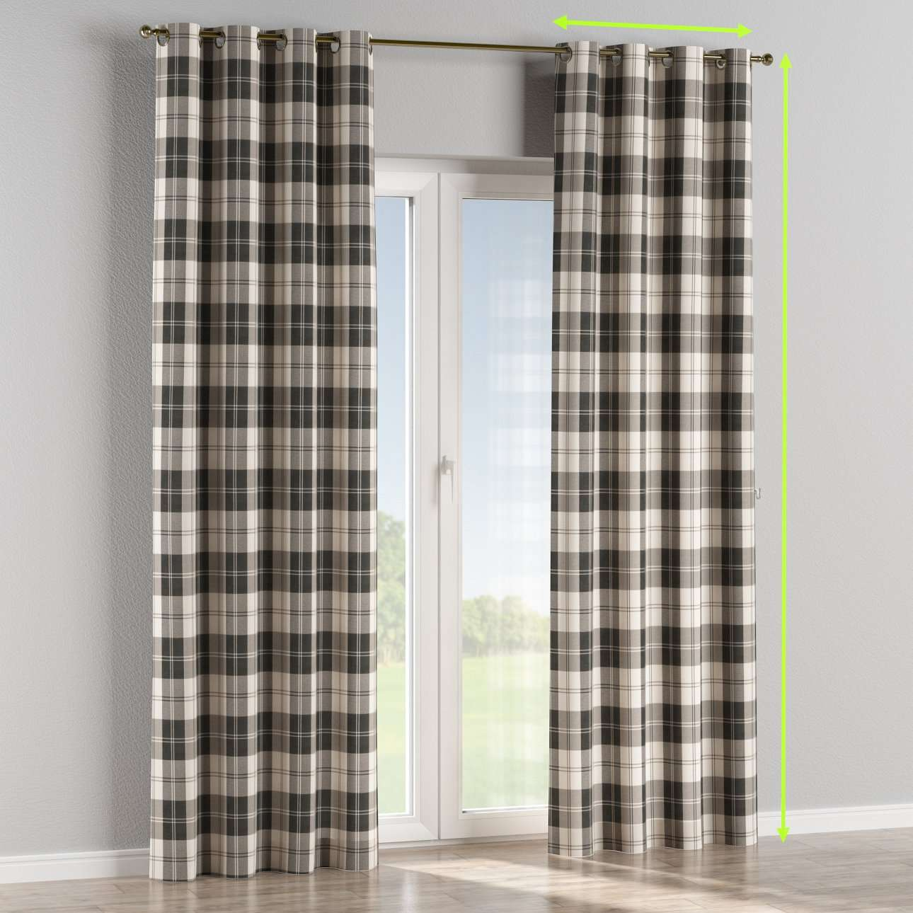 Eyelet lined curtains in collection Edinburgh, fabric: 115-74