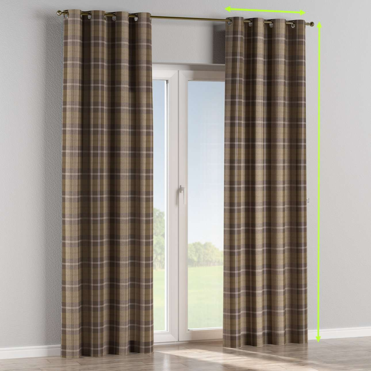 Eyelet lined curtains in collection Edinburgh, fabric: 115-76