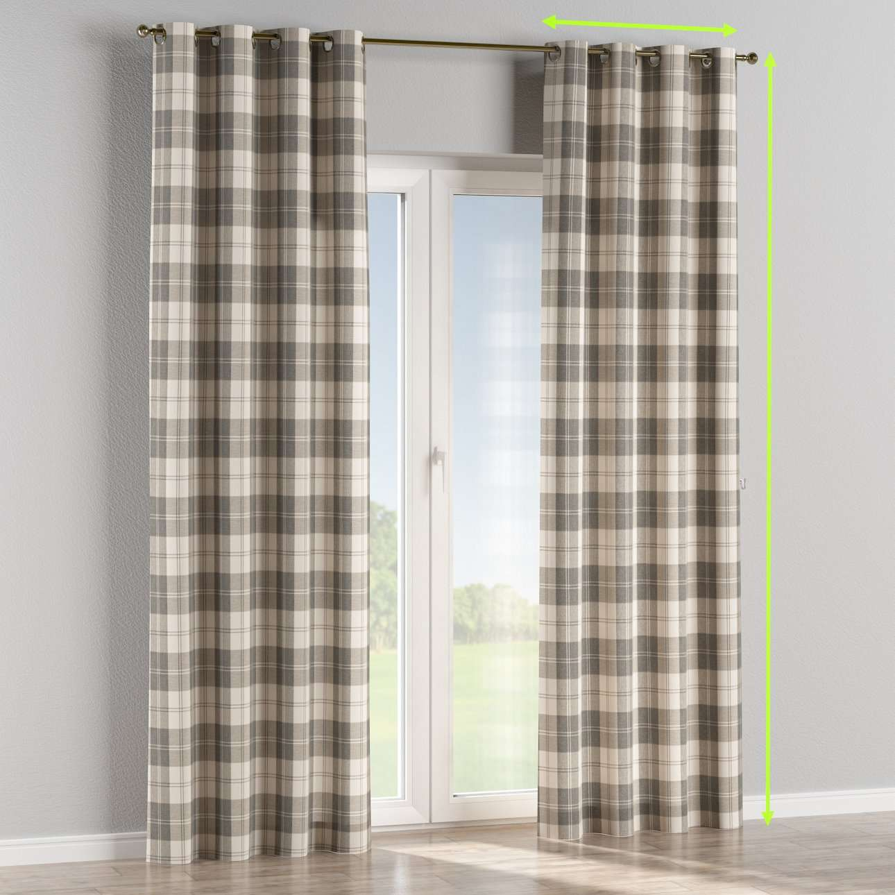 Eyelet lined curtains in collection Edinburgh, fabric: 115-79