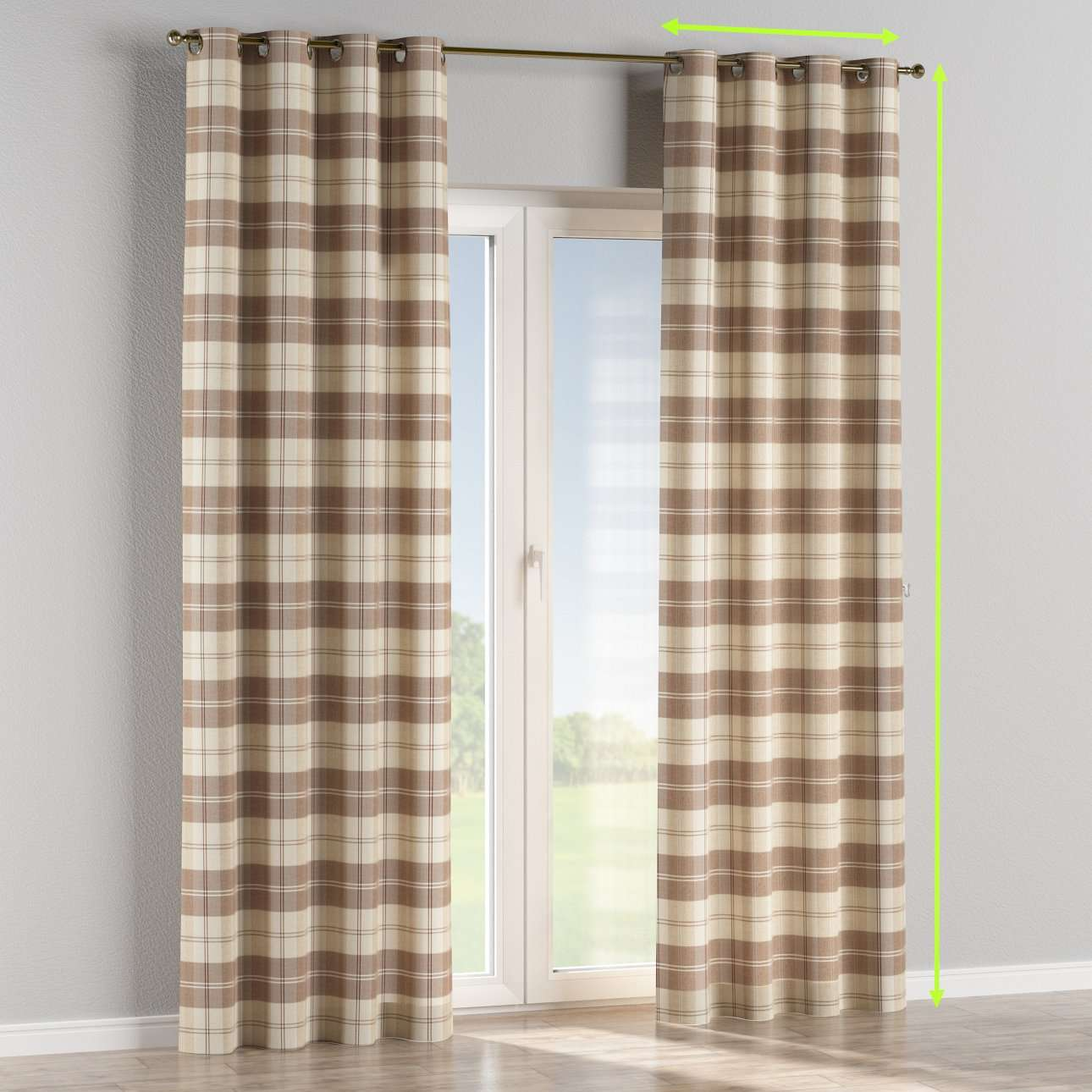 Eyelet lined curtains in collection Edinburgh, fabric: 115-80