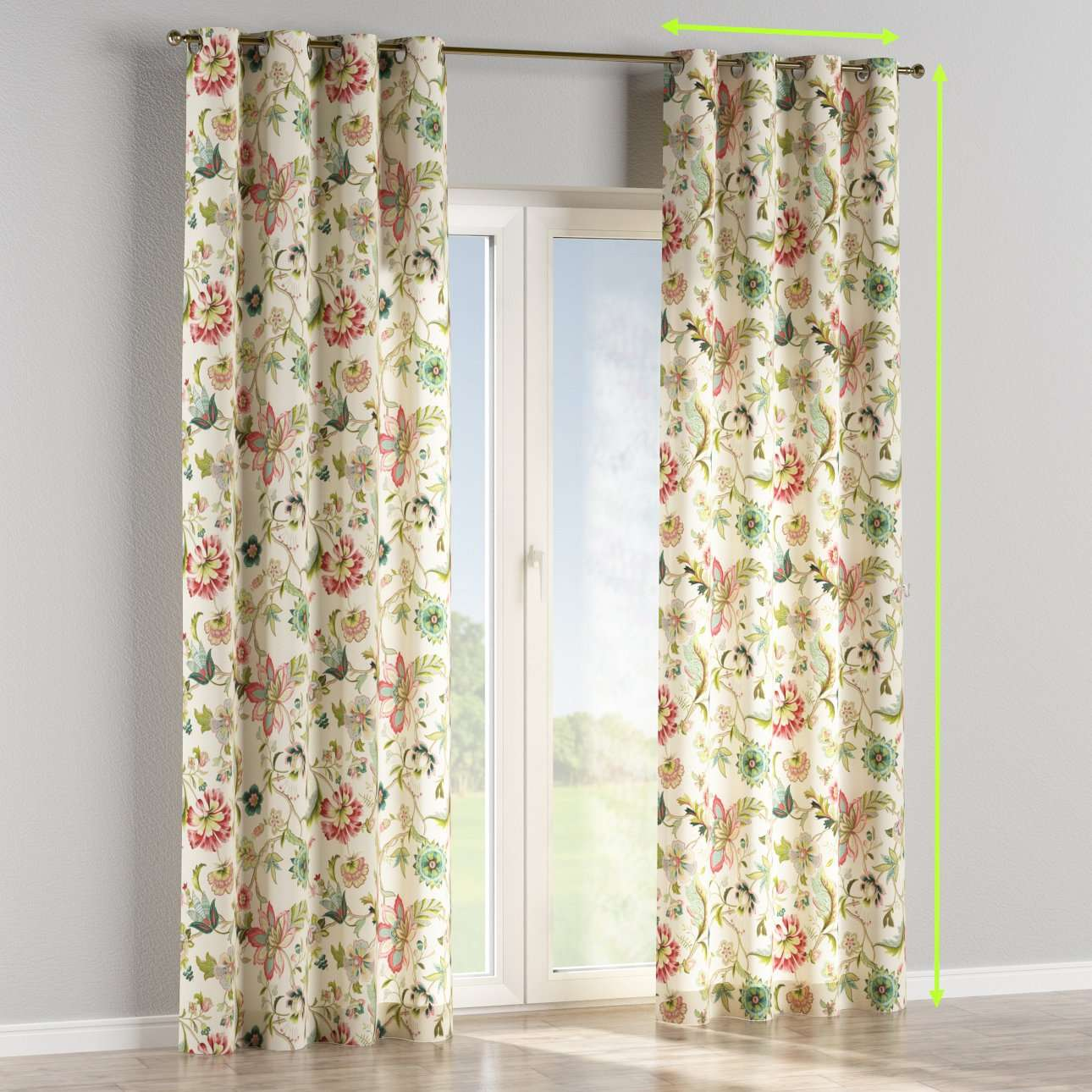 Eyelet lined curtains in collection Londres, fabric: 122-00