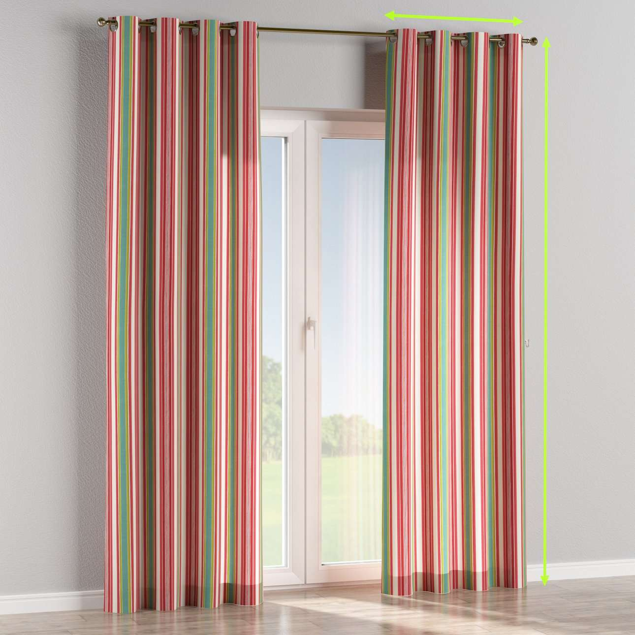 Eyelet lined curtains in collection Londres, fabric: 122-01