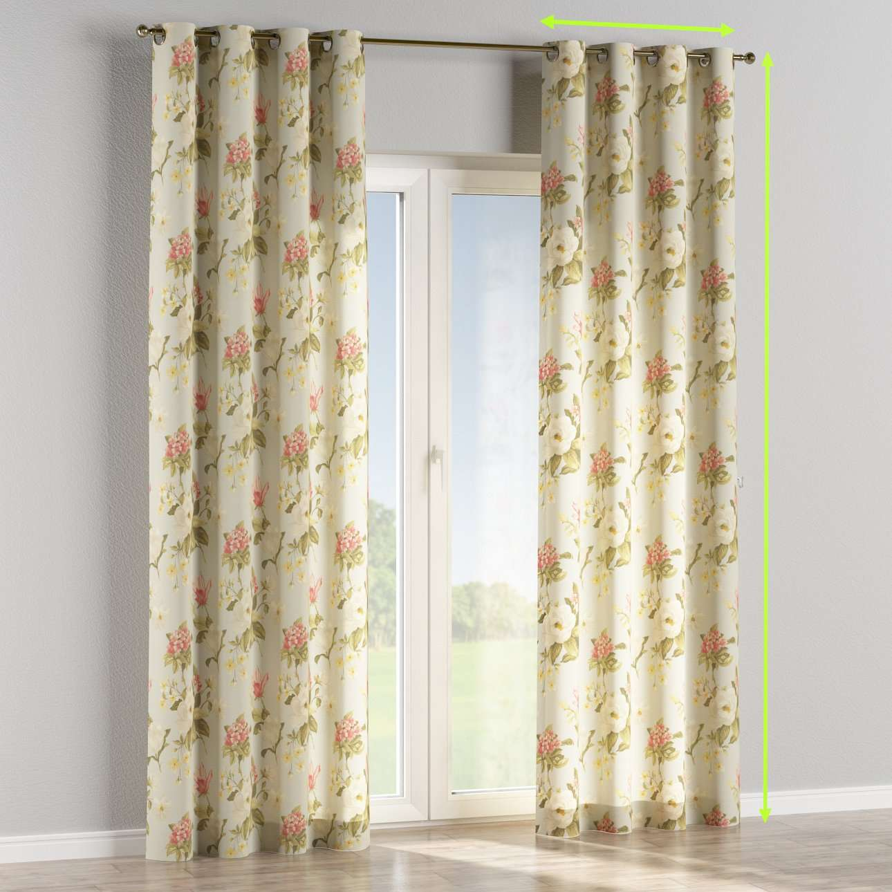 Eyelet lined curtains in collection Londres, fabric: 123-65