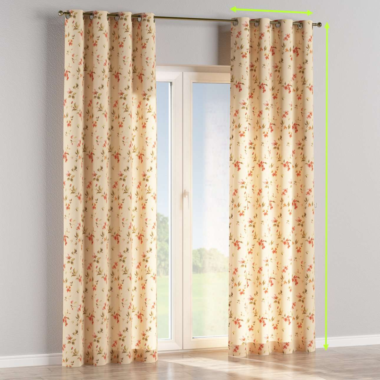 Eyelet lined curtains in collection Londres, fabric: 124-05
