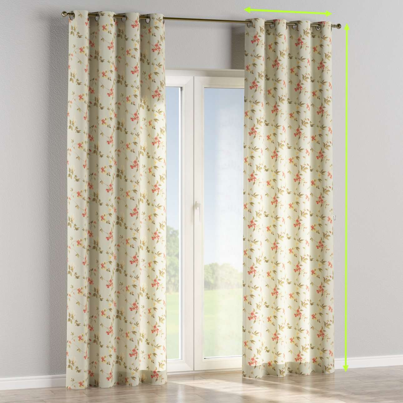 Eyelet lined curtains in collection Londres, fabric: 124-65
