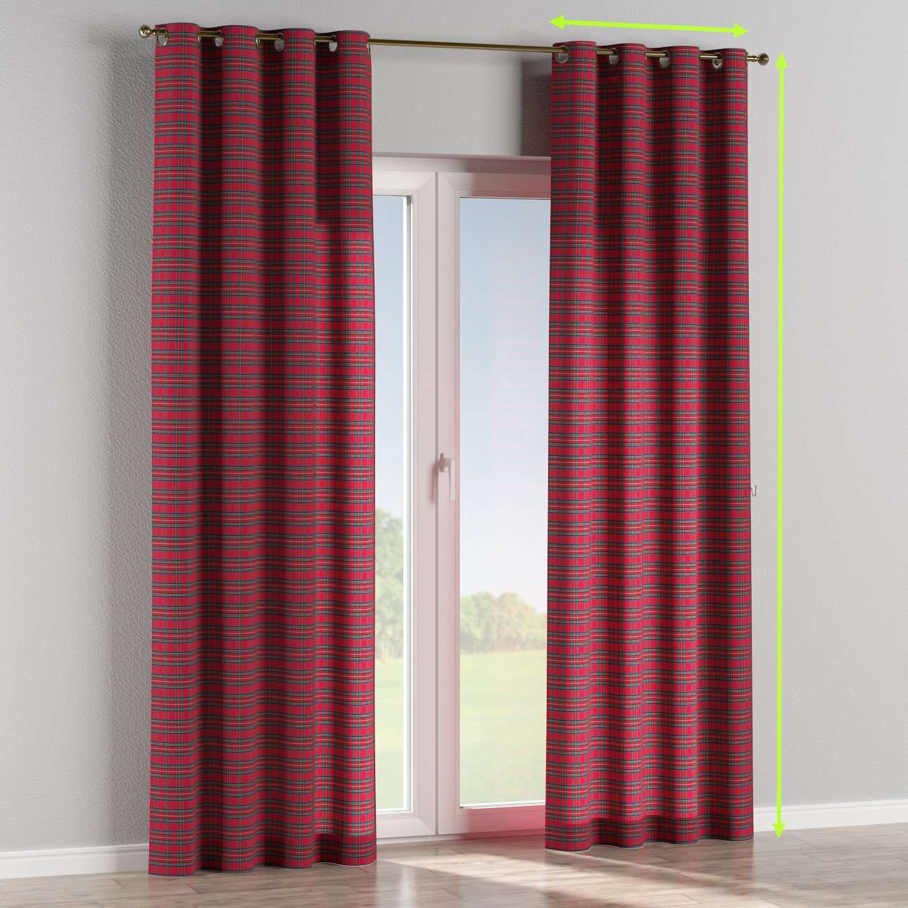Eyelet lined curtains in collection Bristol, fabric: 126-29