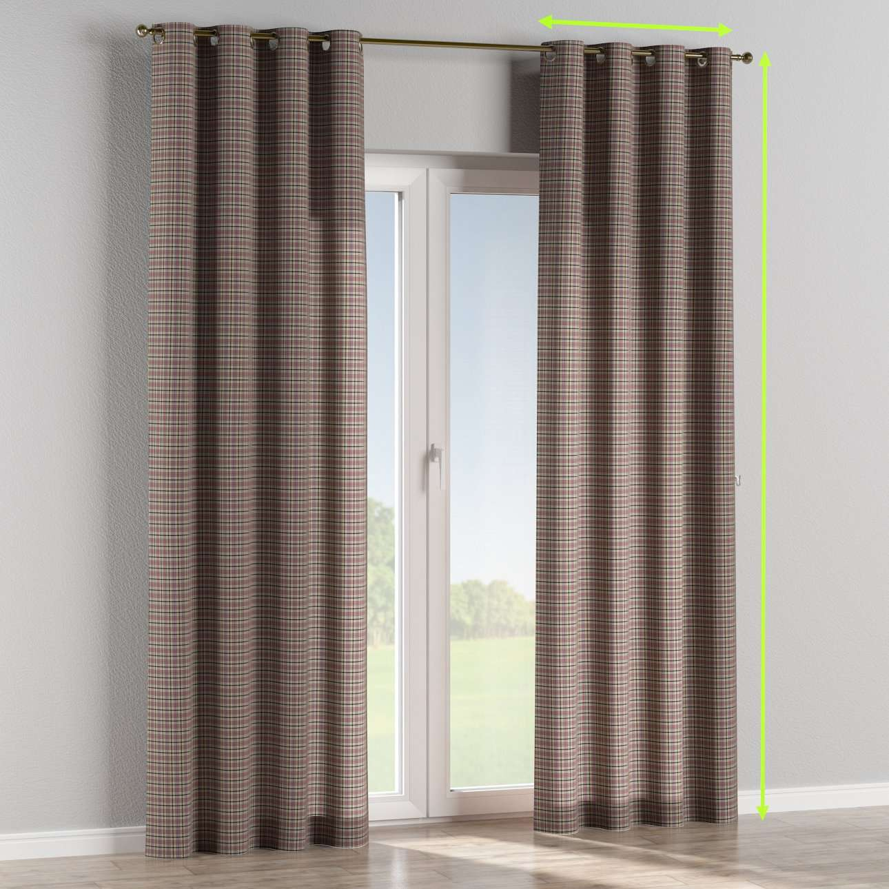 Eyelet lined curtains in collection Bristol, fabric: 126-32