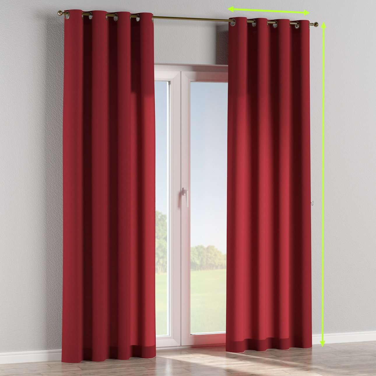 Eyelet lined curtains in collection Jupiter, fabric: 127-15