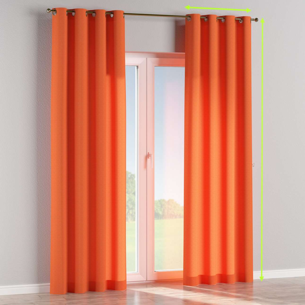 Eyelet lined curtains in collection Jupiter, fabric: 127-35