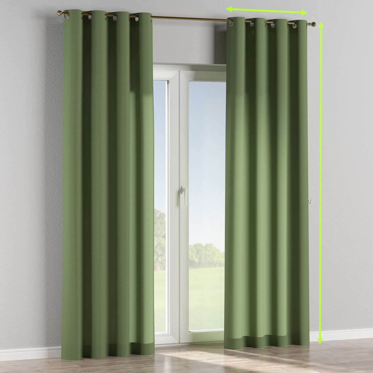 Eyelet lined curtains in collection Jupiter, fabric: 127-52