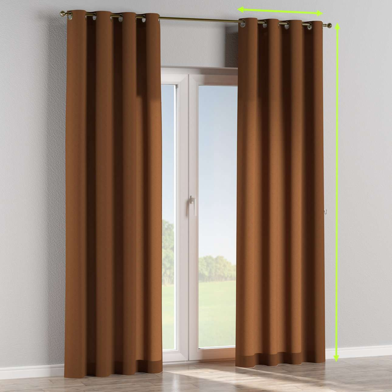 Eyelet lined curtains in collection Jupiter, fabric: 127-88