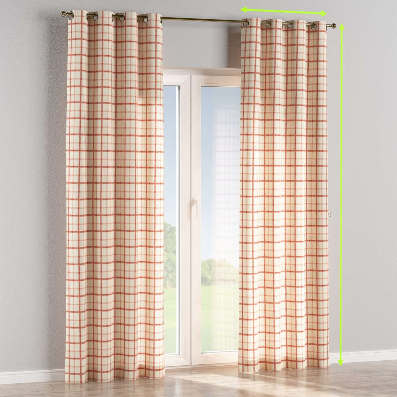 Eyelet lined curtains in collection Avinon, fabric: 131-15