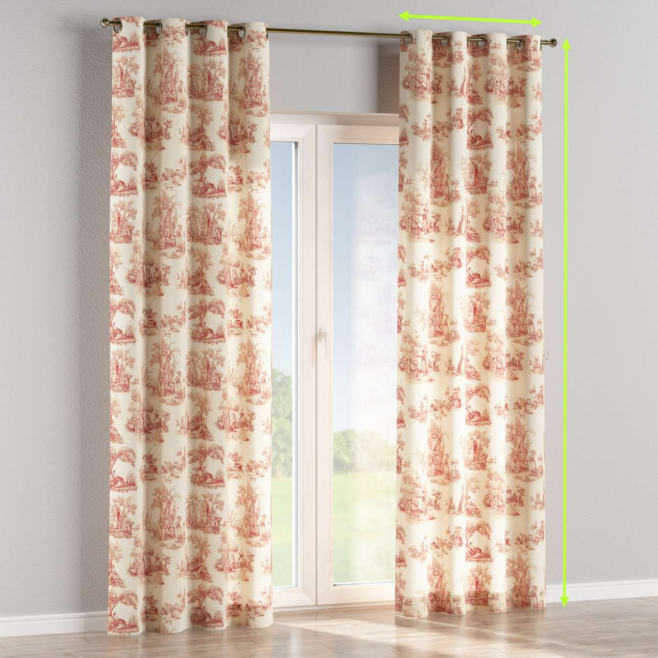 Eyelet lined curtains in collection Avinon, fabric: 132-15