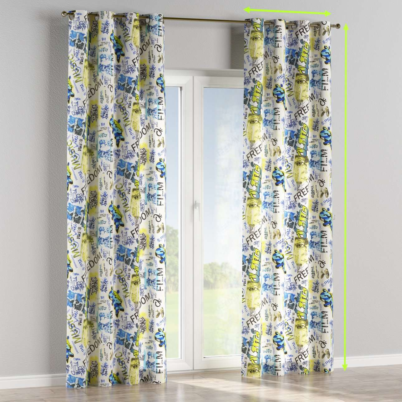 Eyelet lined curtains in collection Comic Book & Geo Prints, fabric: 135-08