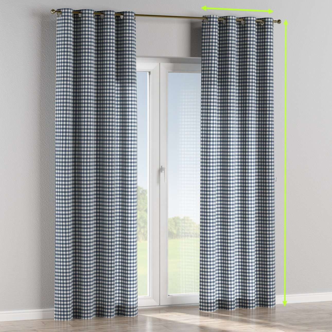 Eyelet lined curtains in collection Quadro, fabric: 136-01