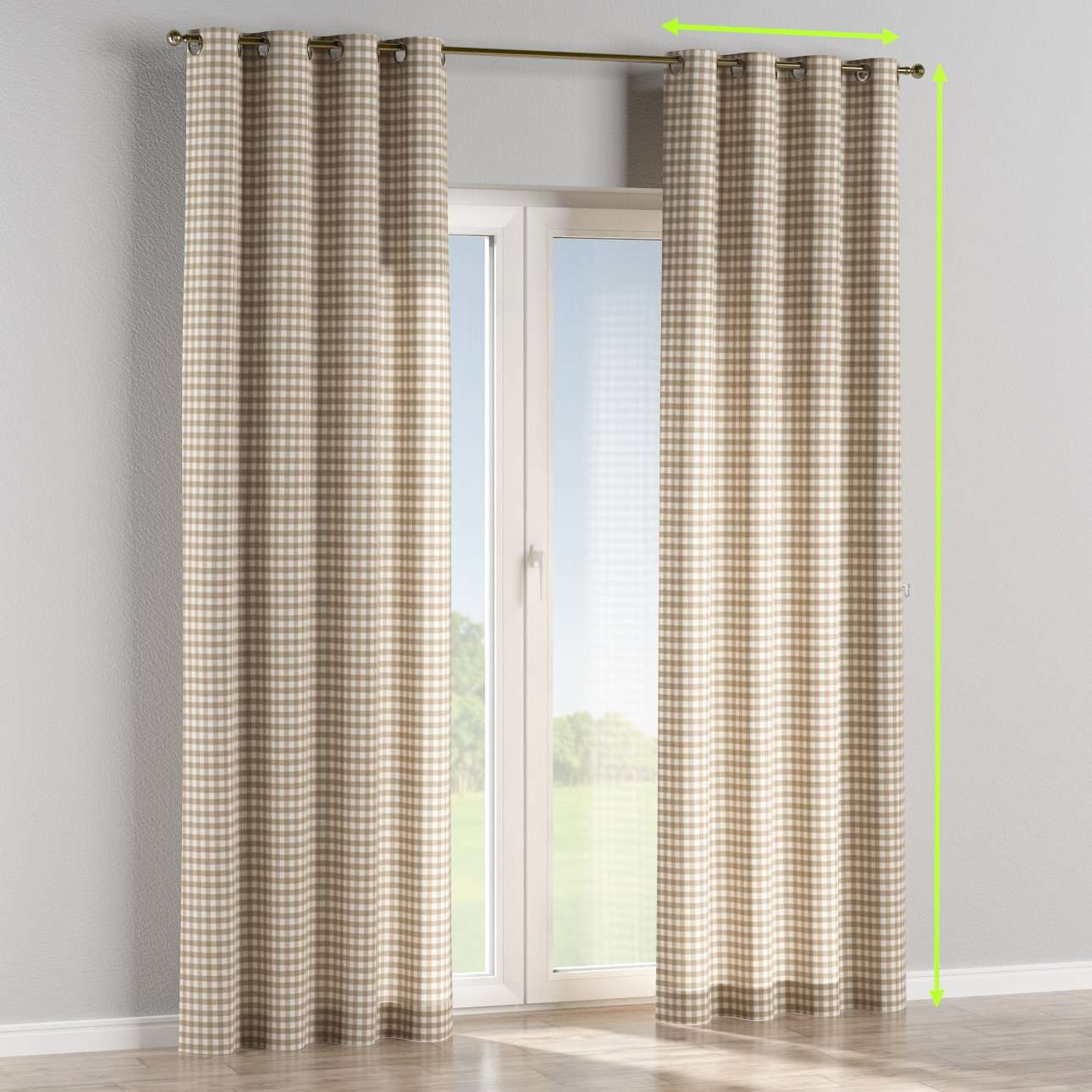 Eyelet lined curtains in collection Quadro, fabric: 136-06