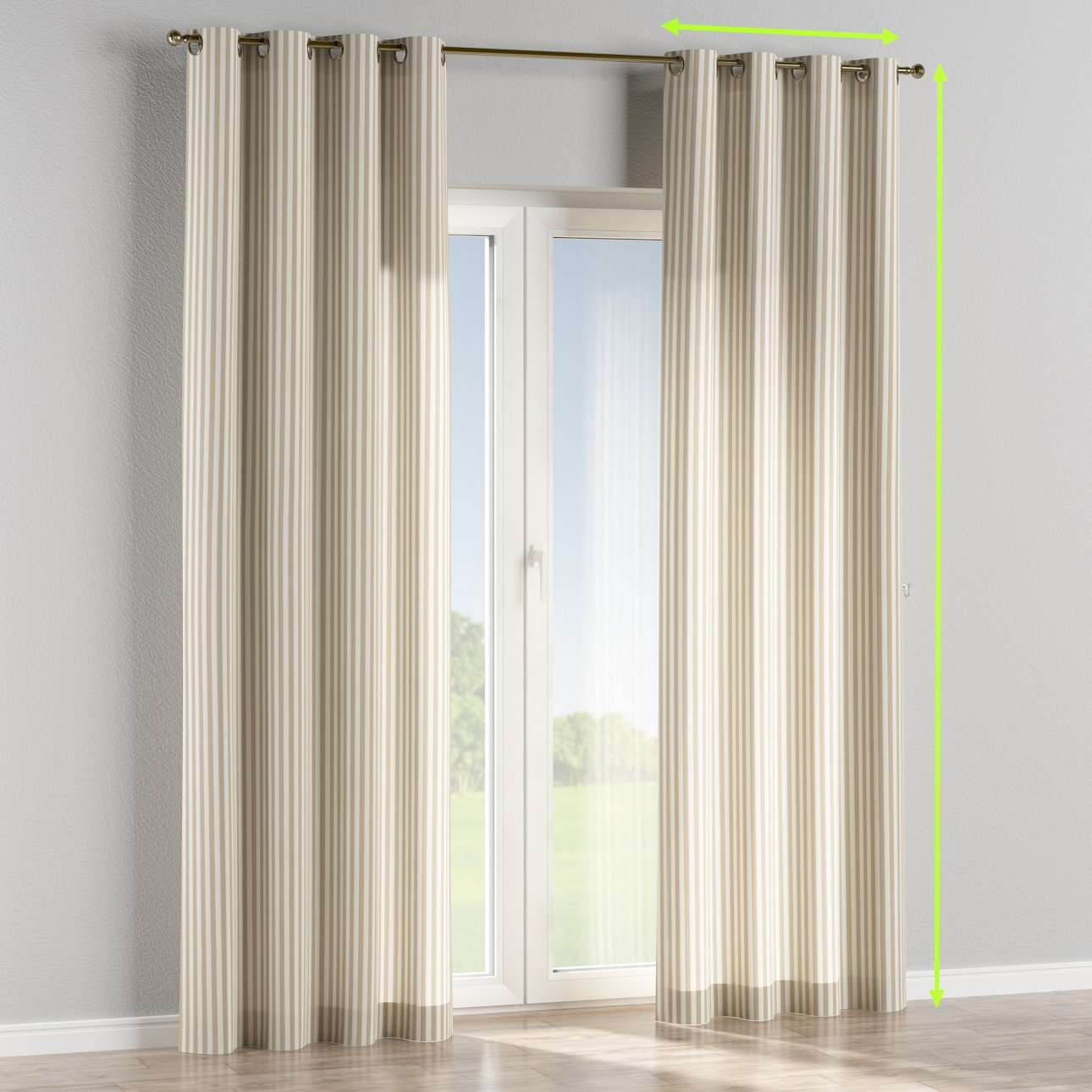 Eyelet lined curtains in collection Quadro, fabric: 136-07