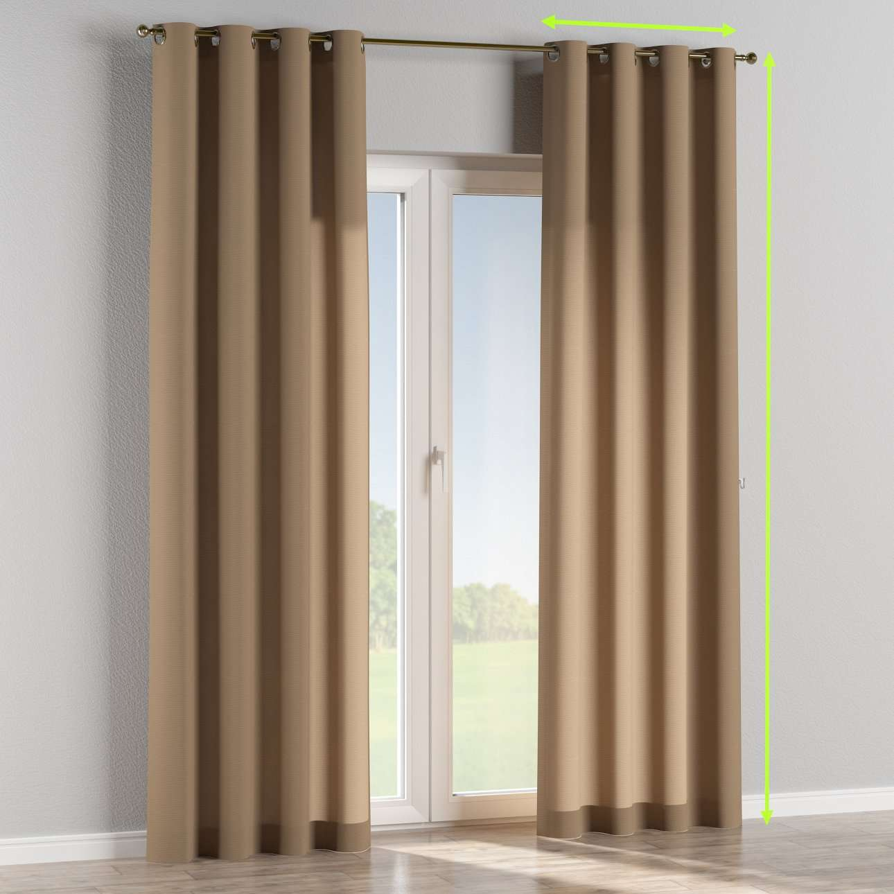 Eyelet lined curtains in collection Quadro, fabric: 136-09