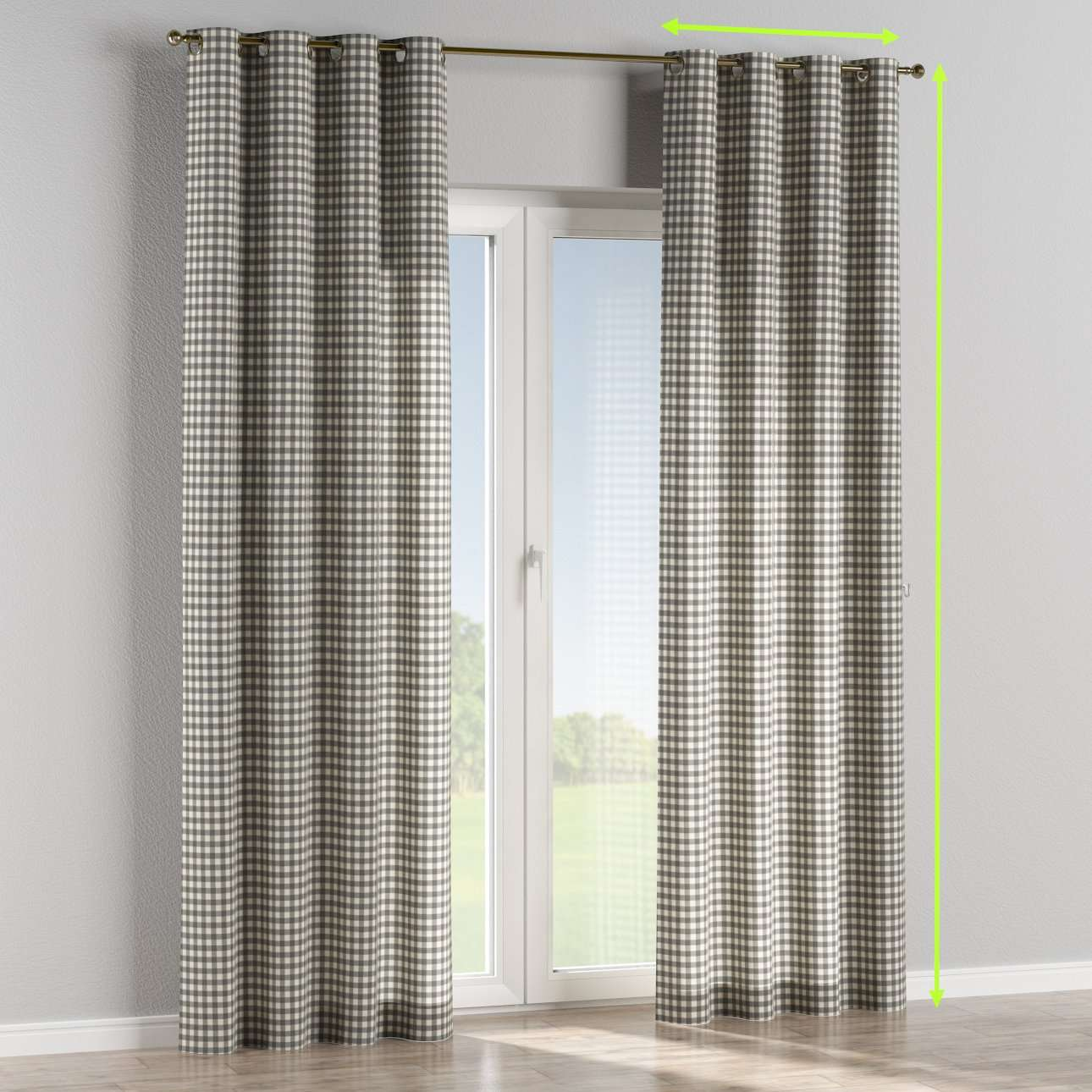 Eyelet lined curtains in collection Quadro, fabric: 136-11