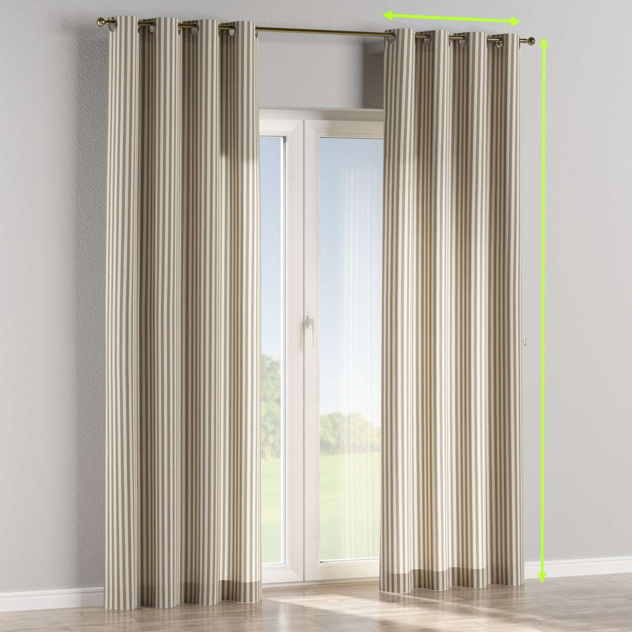 Eyelet lined curtains in collection Quadro, fabric: 136-12