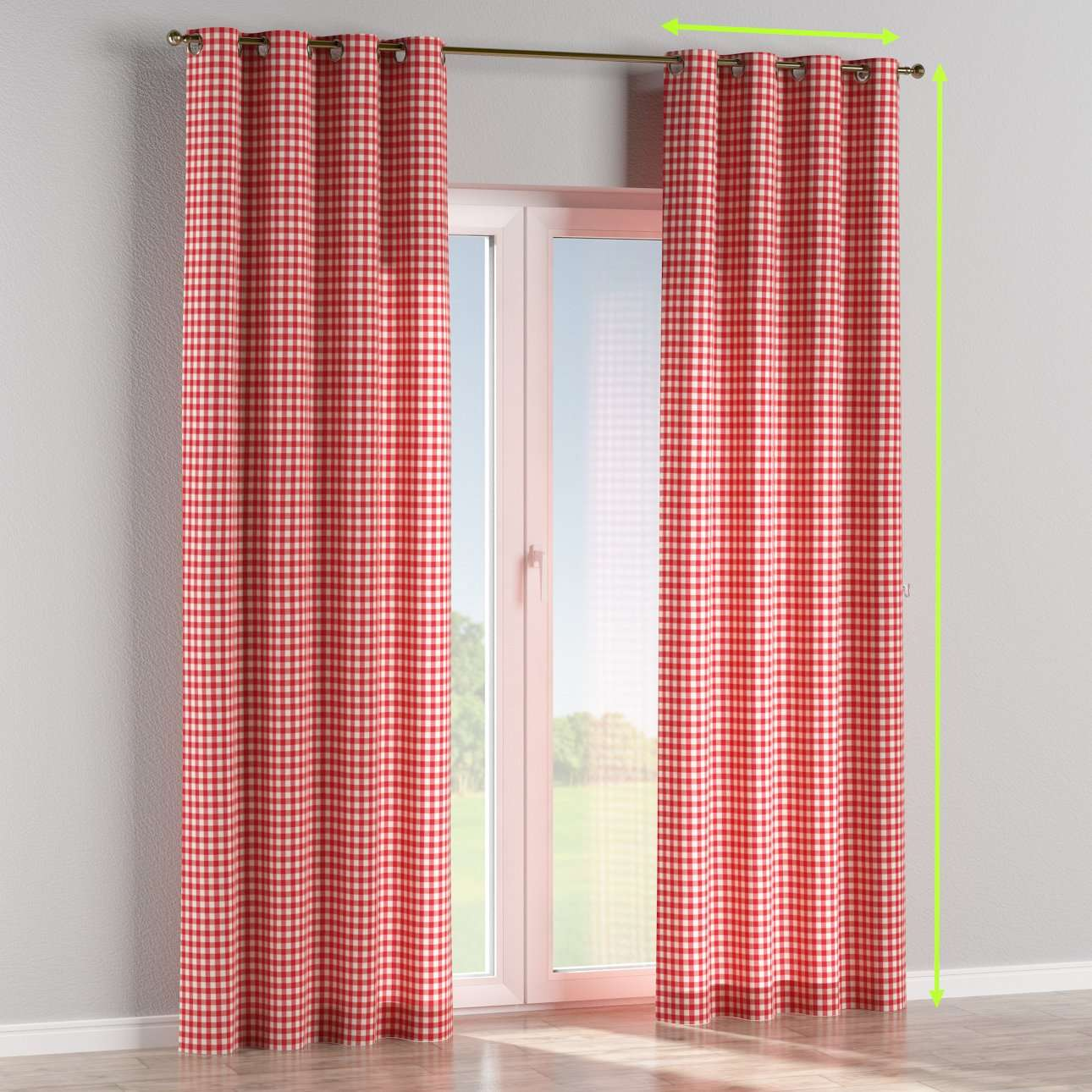 Eyelet lined curtains in collection Quadro, fabric: 136-16